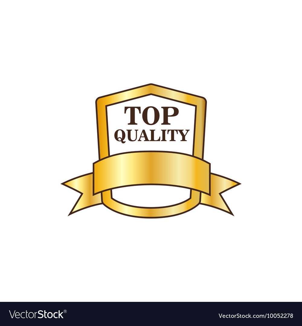 Top quality golden shield icon flat style vector