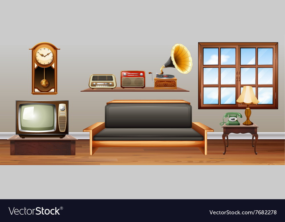 Vintage objects in the living room vector