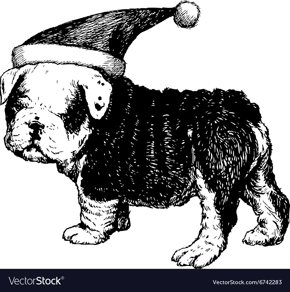 Christmas puppy bulldog 1 vector