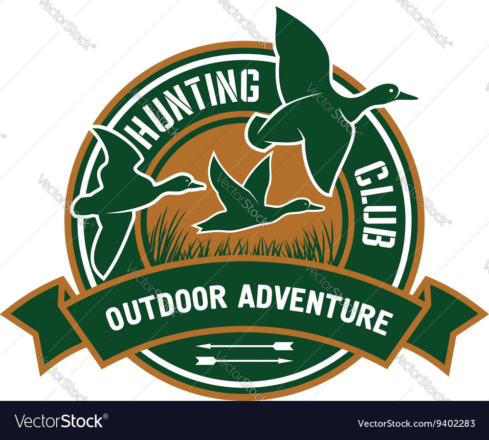 Duck hunting retro badge for hunters club design vector