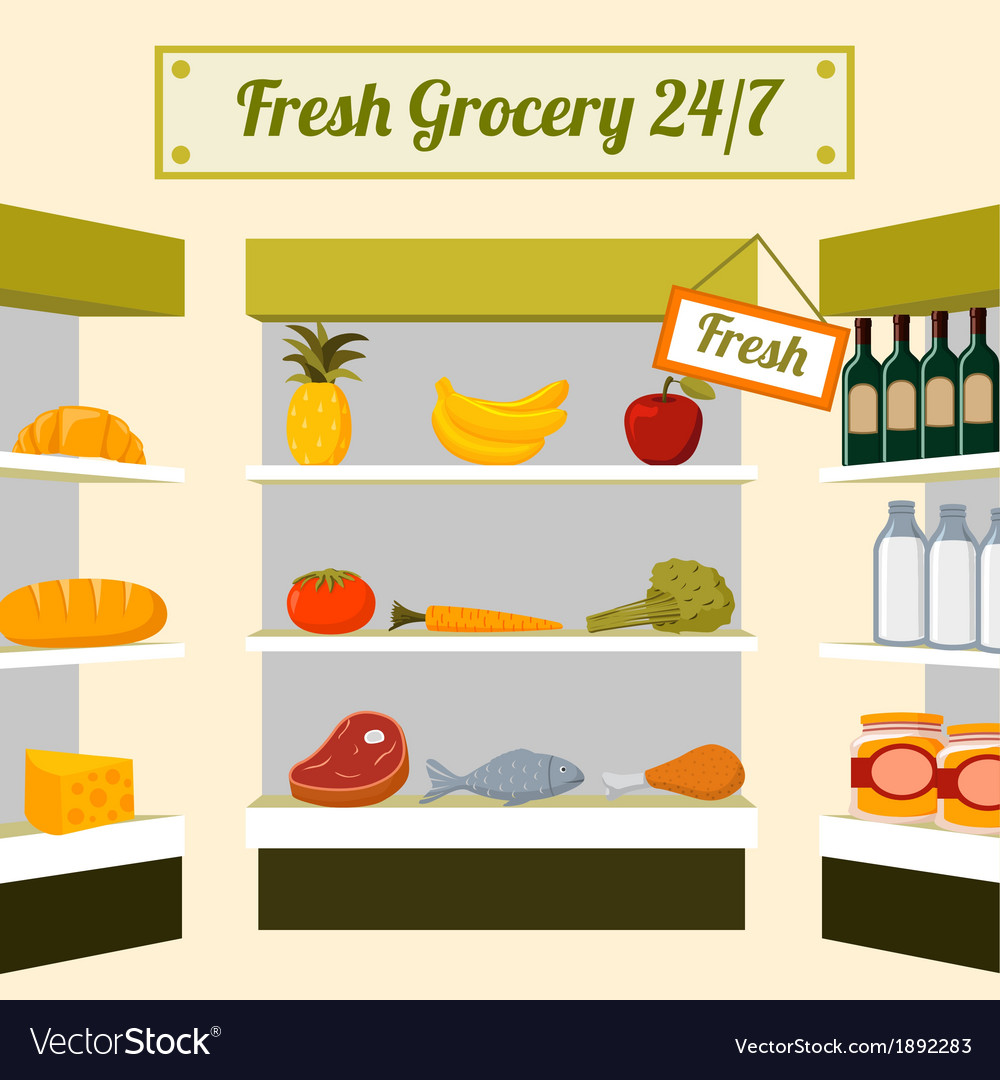 Fresh grocery foods on store shelves vector