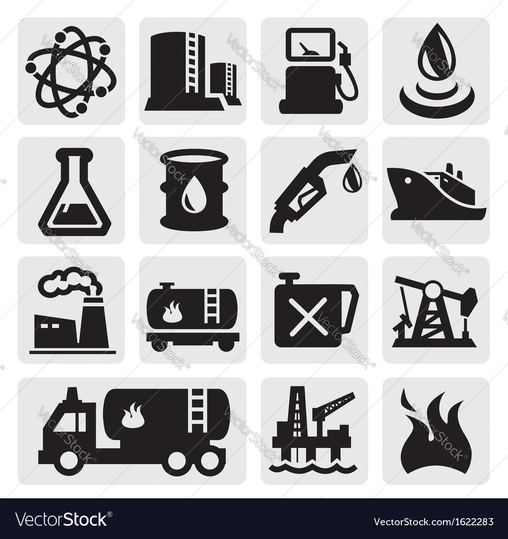 Oil and petrol icons vector