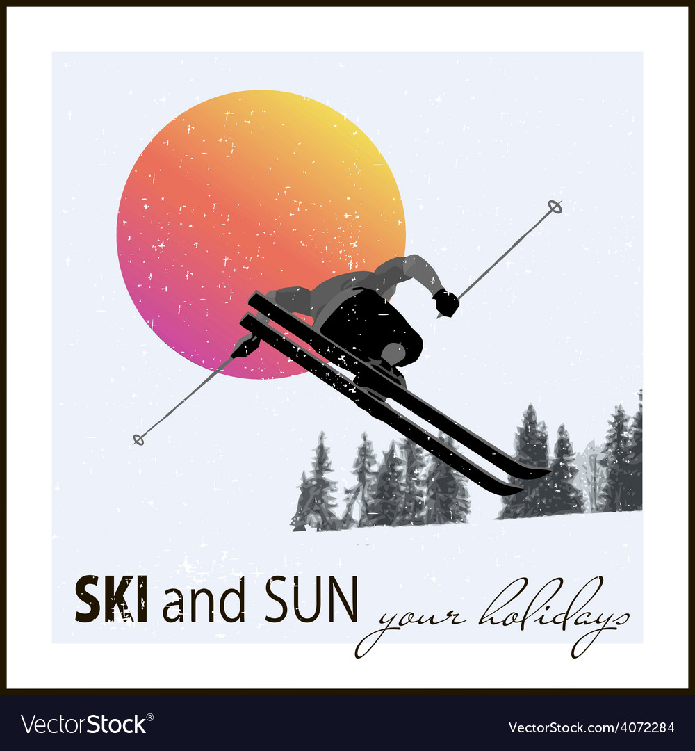 Poster skier flying against the evening sun vector