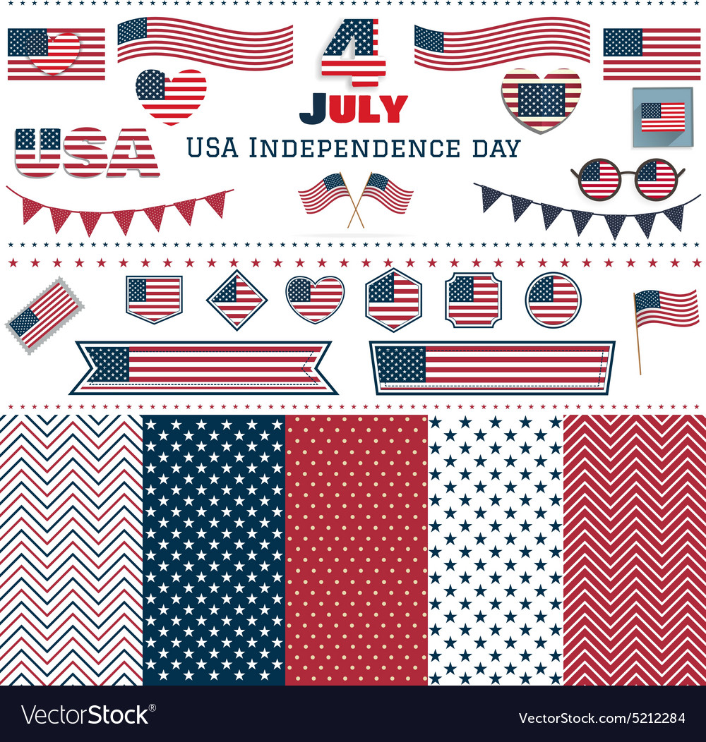 Set of american flags hearts patterns vector