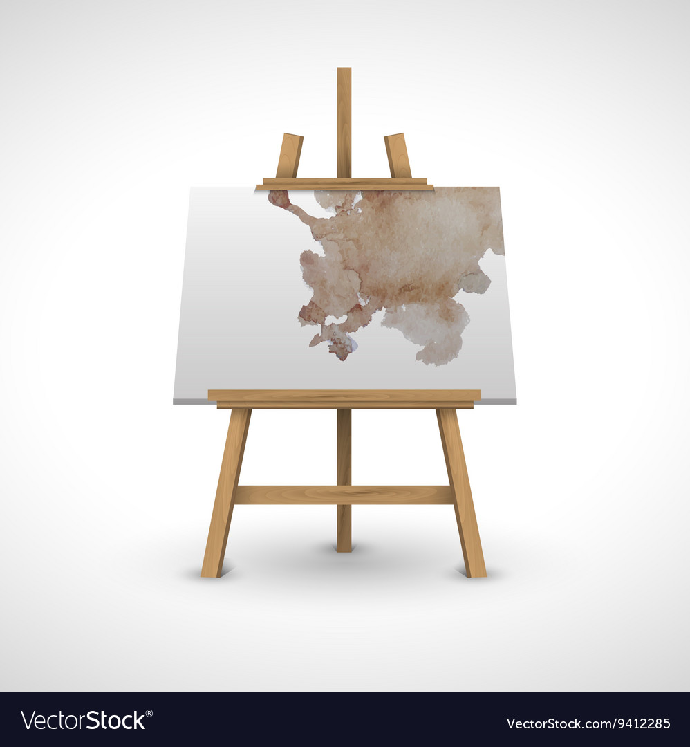 Blank canvas on a wooden easel with watercolor vector