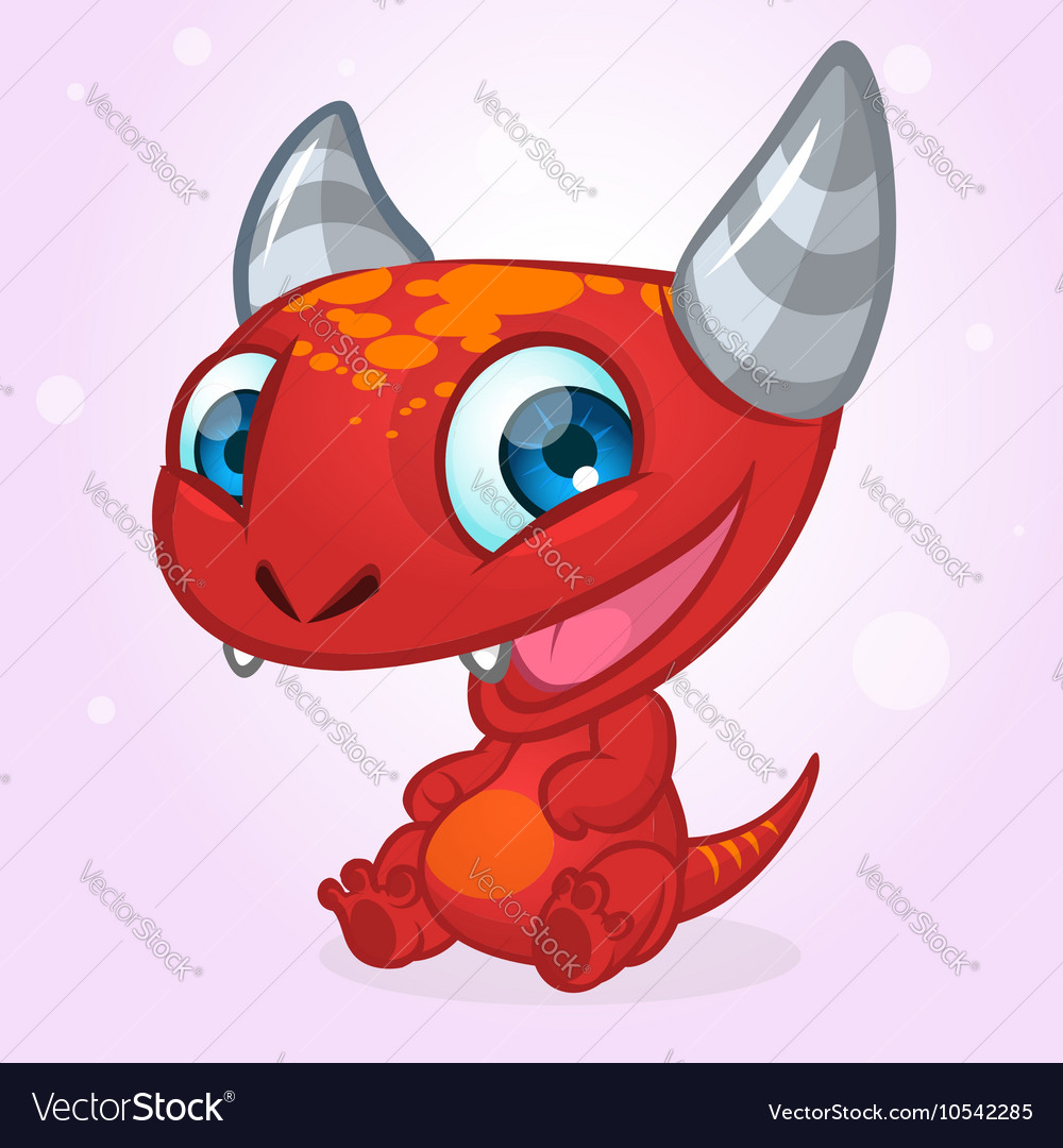 Happy cartoon red monster halloween vector
