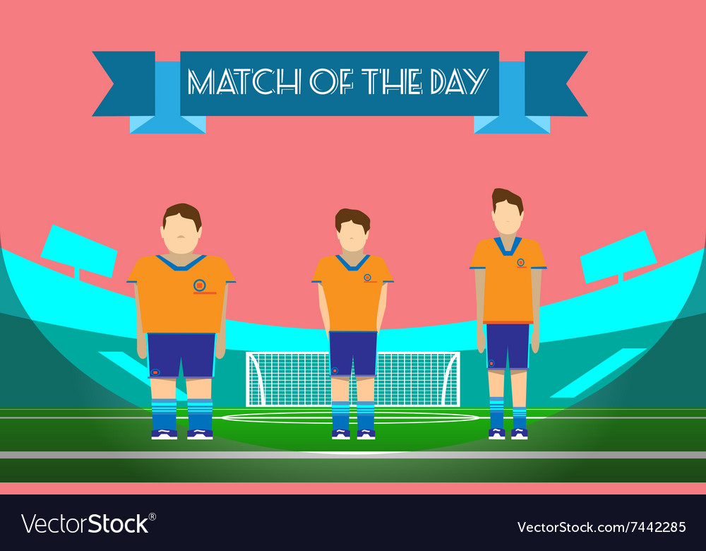 Three soccer players on football stadium vector