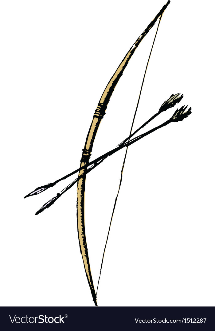 Bow and arrows vector