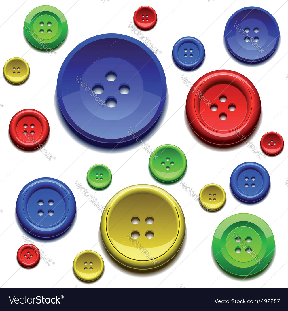 Sewing color buttons vector