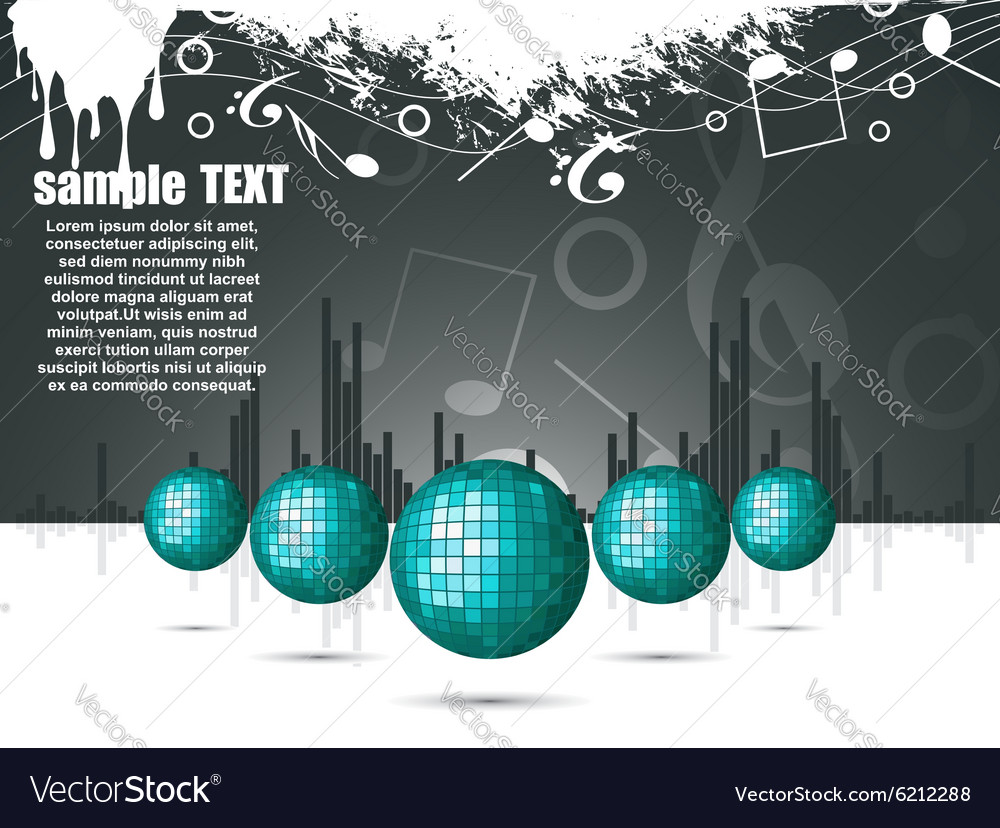 Musical theme with disco balls vector