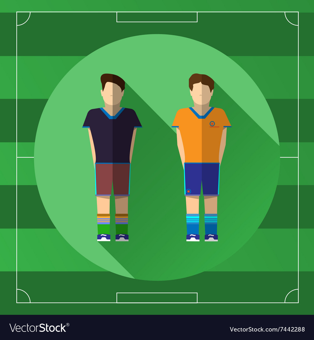 Two soccer players icon vector