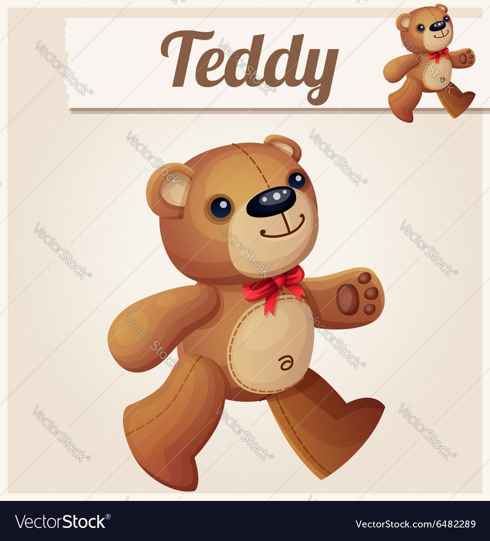 Teddy bear walks cartoon vector