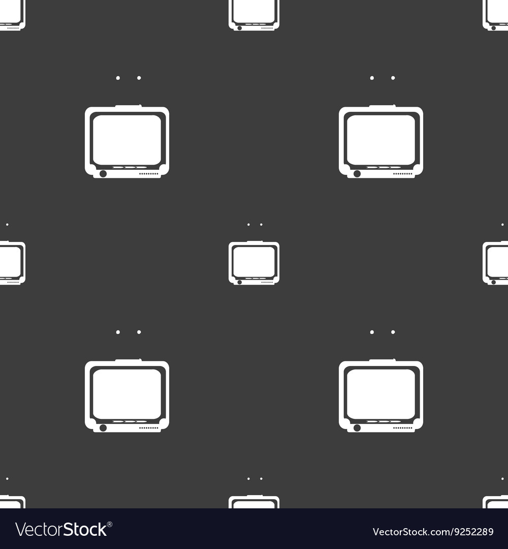 Tv icon sign seamless pattern on a gray background vector