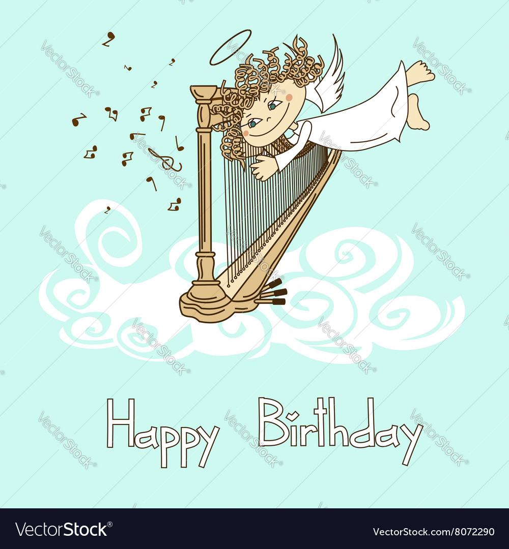 Card for birthday with cupid playing the harp vector