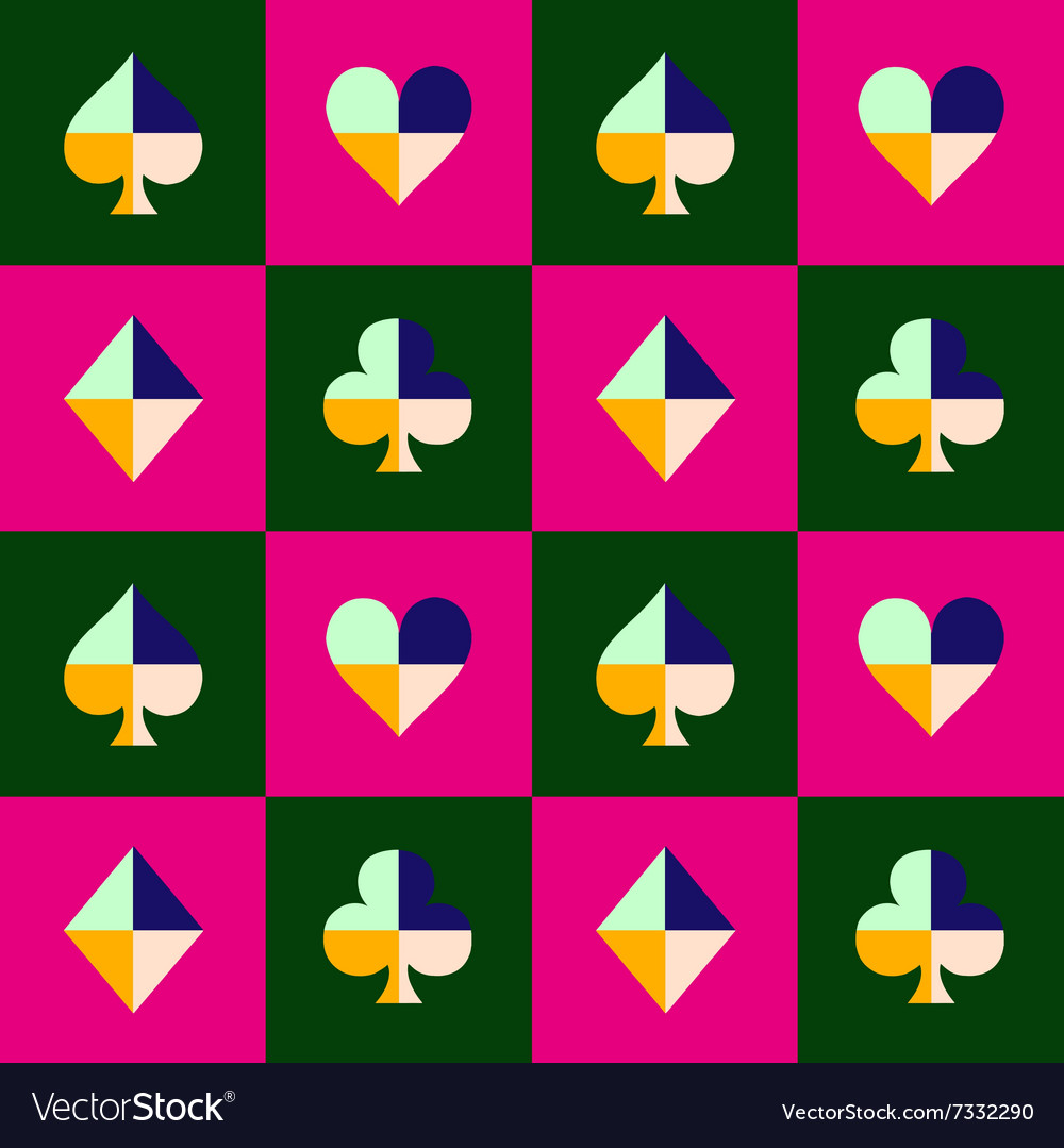 Card suit chess board pink green vector