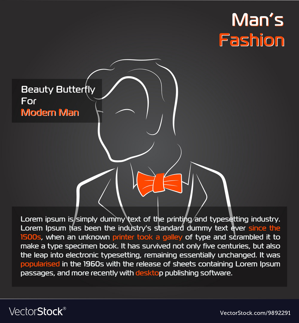 Man with orange bow tie on black vector