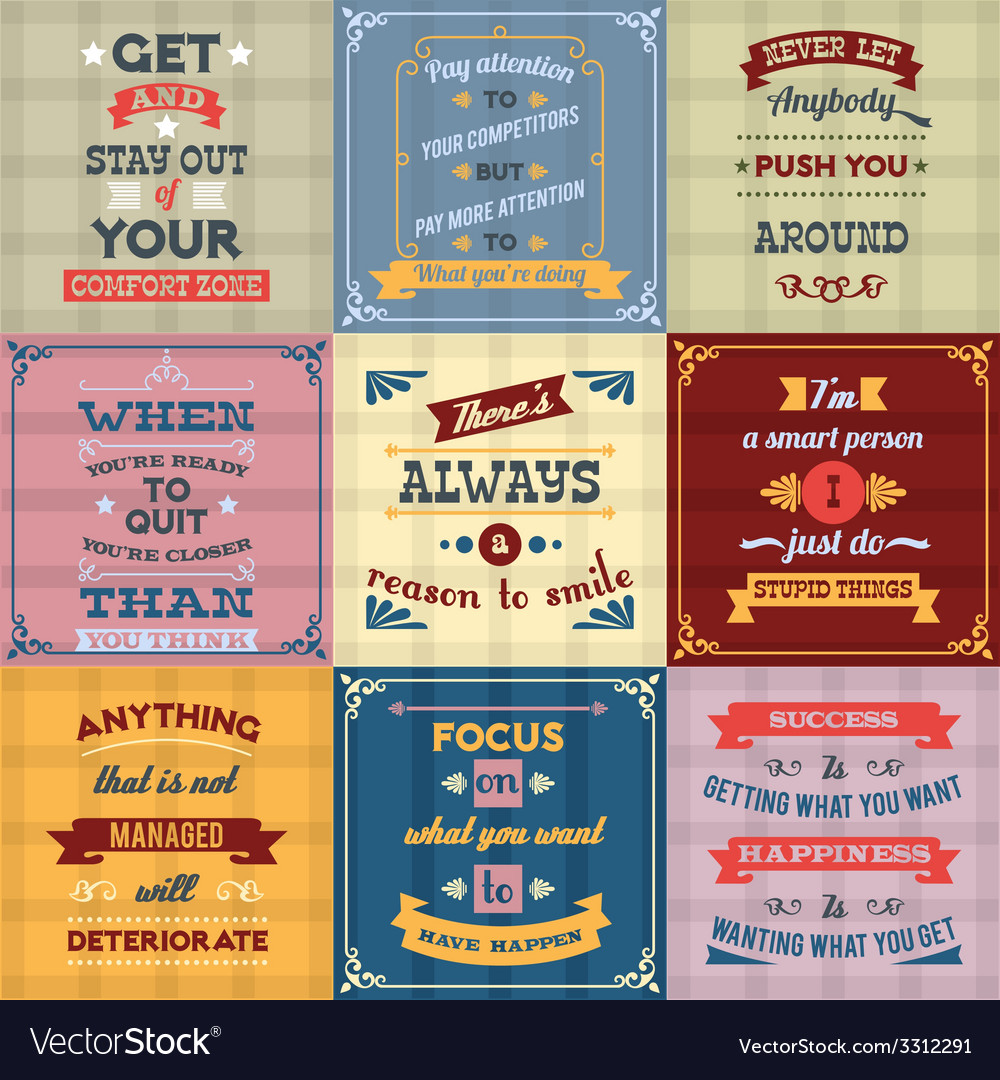 Success quotes set colored vector