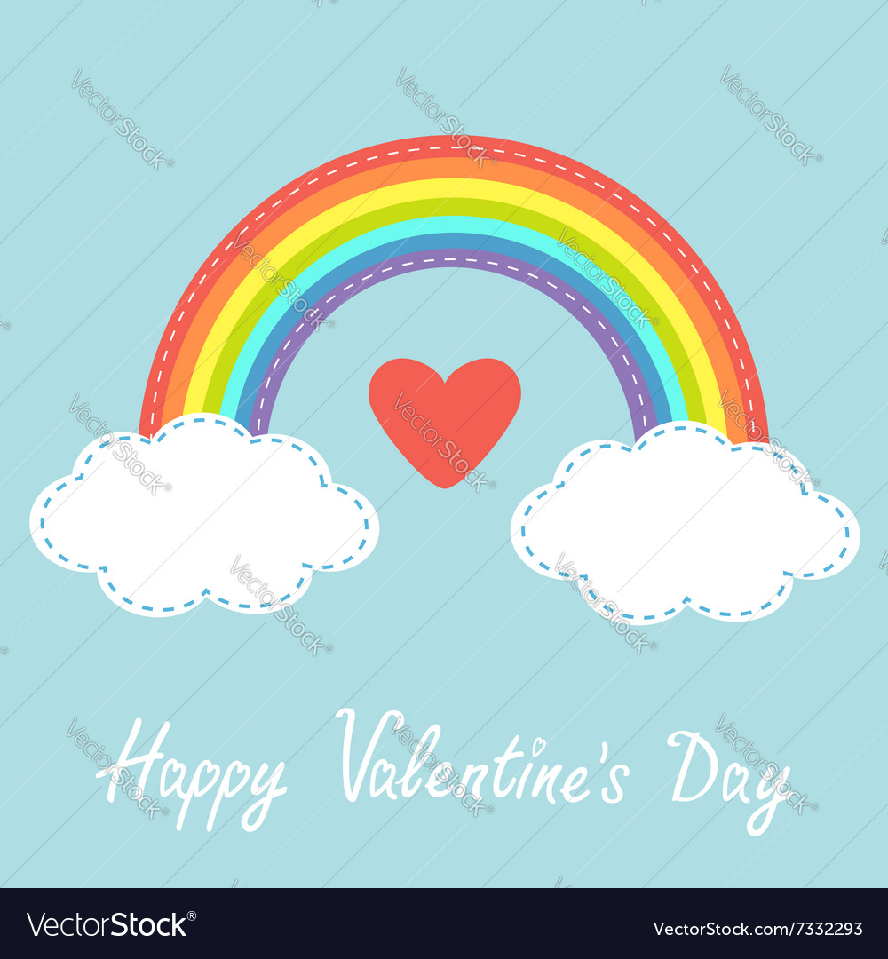 Happy valentines day love card red heart rainbow vector
