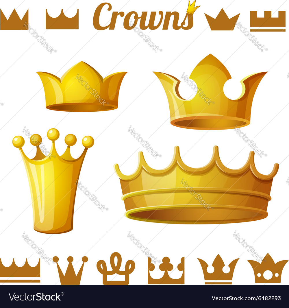 Set 2 of royal gold crowns isolated on white vector