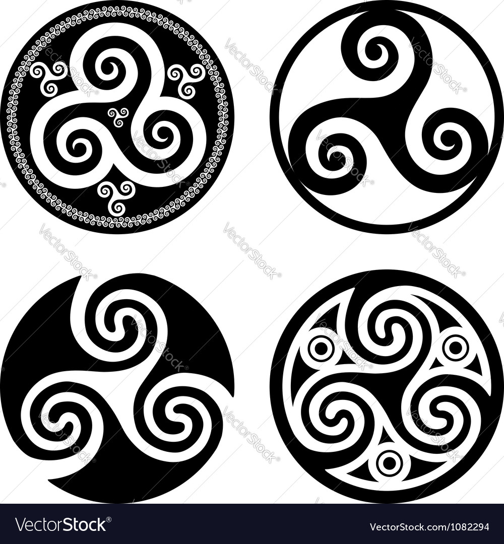 Set of black isolated triskels vector
