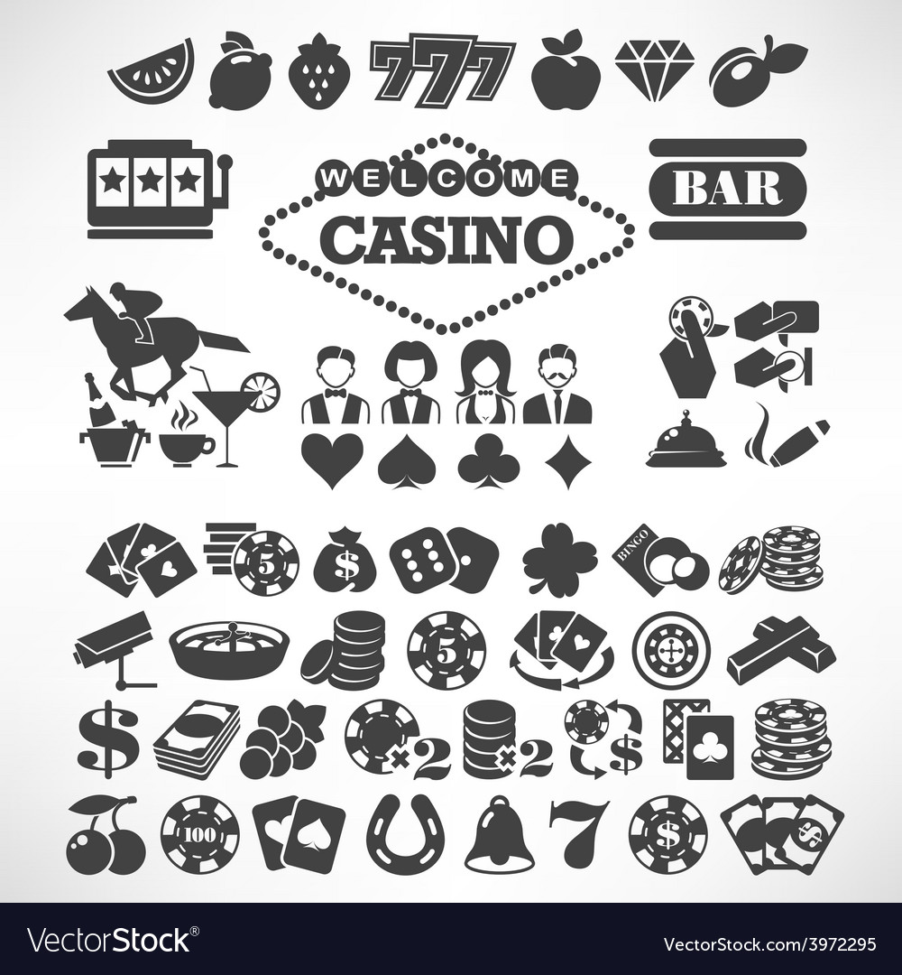 Biggest set of flat casino or gambling icons vector