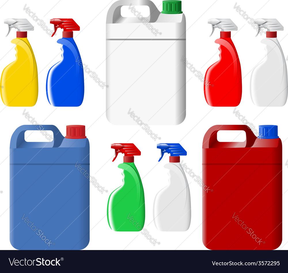 Set of spray bottles and canisters vector