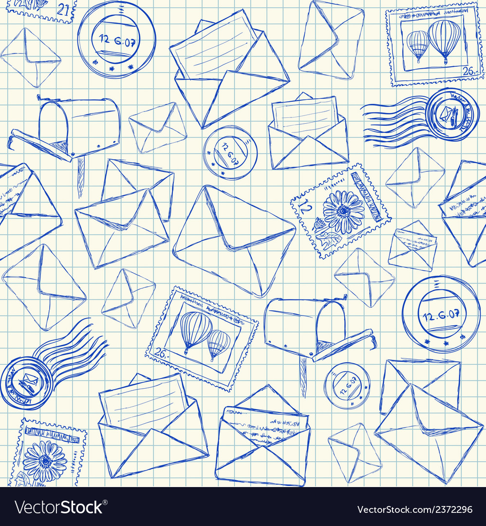 Mail doodles seamless pattern vector