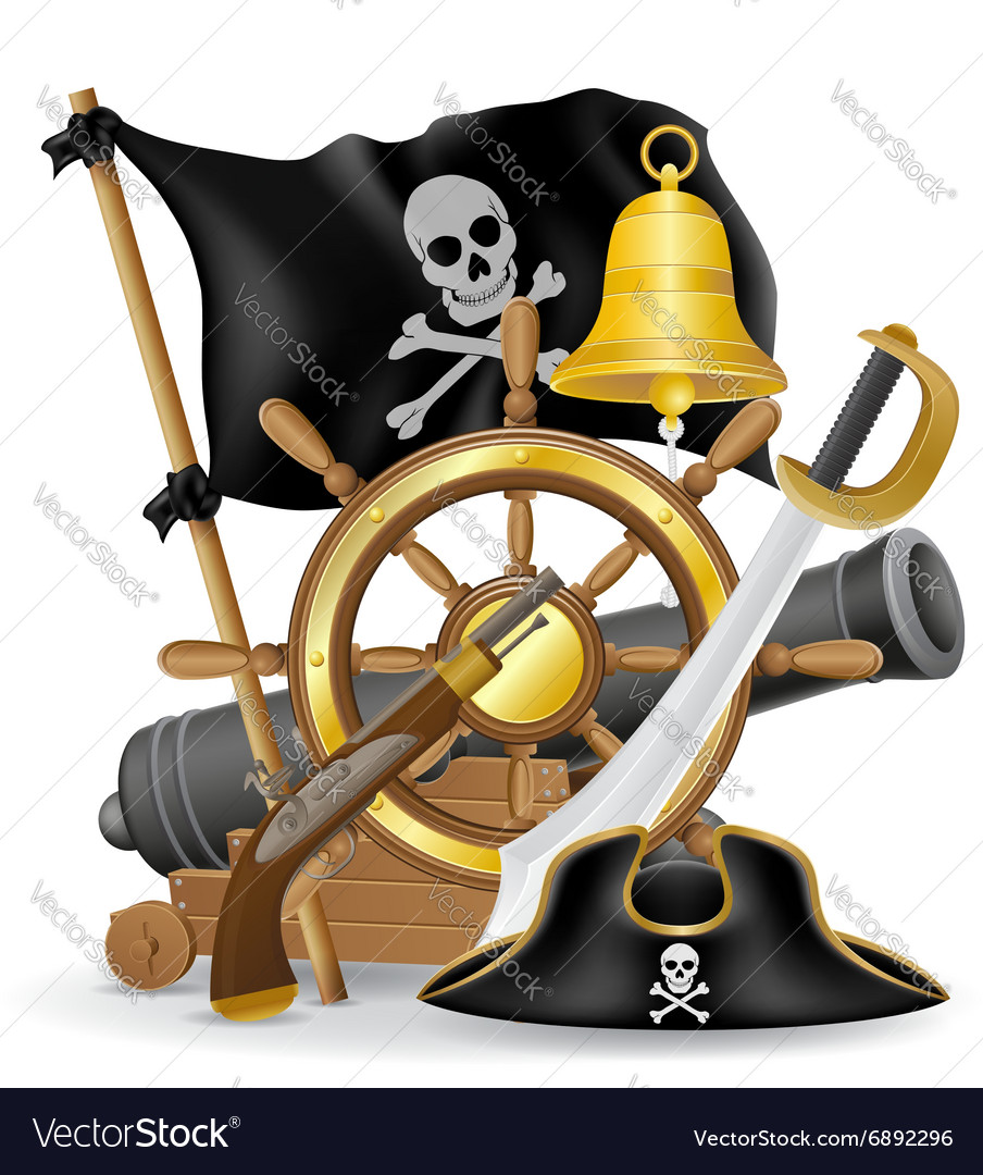 Pirate concept icons 01 vector