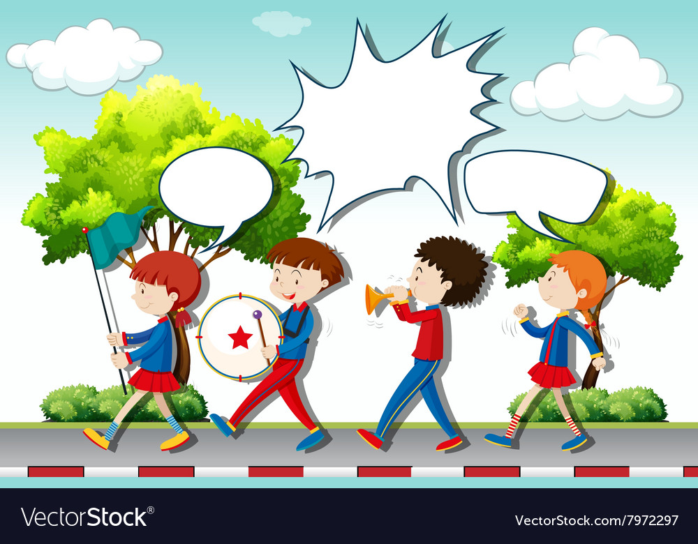Children playing music in the band vector