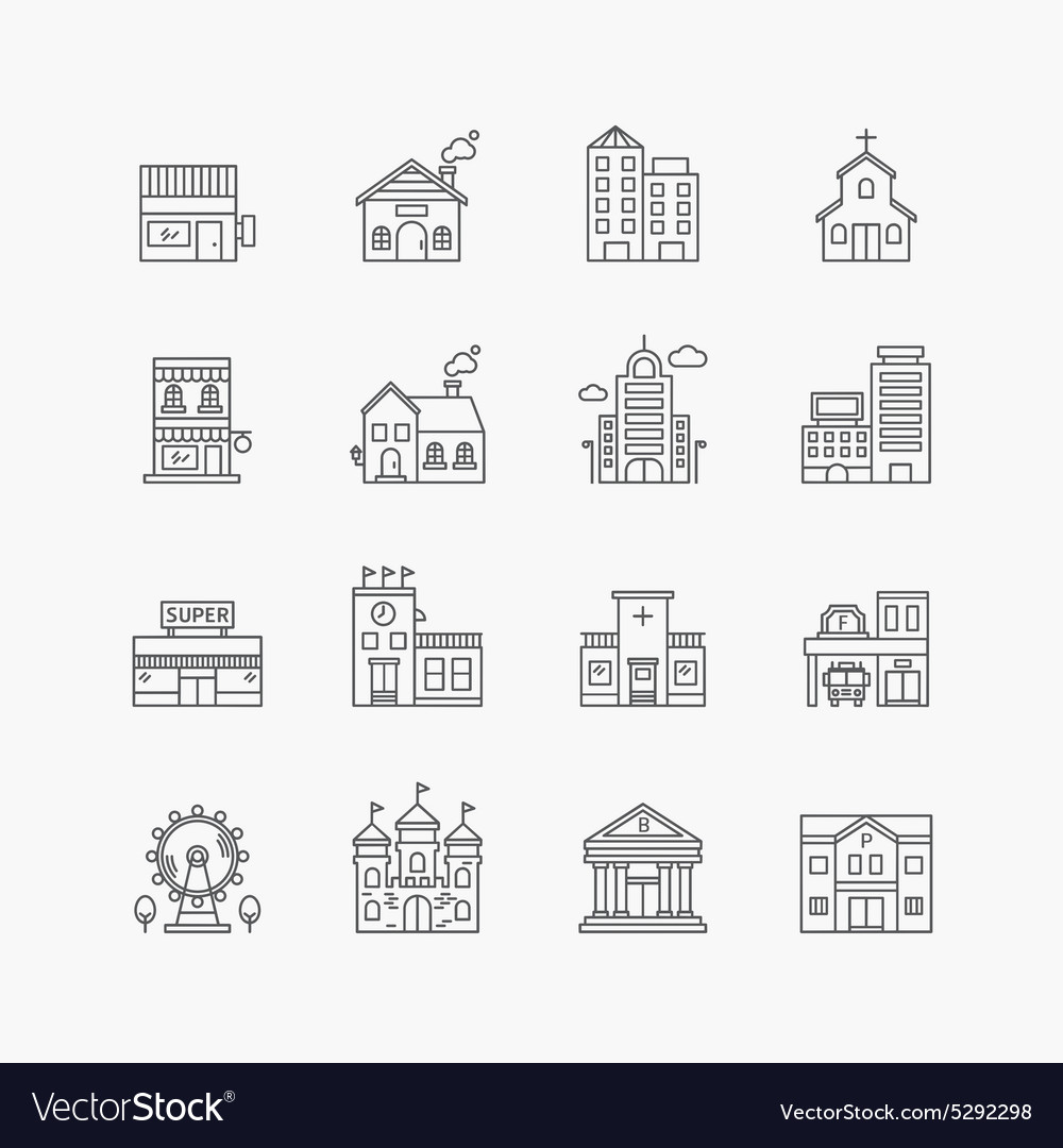 Linear web icons set  buildings collection vector