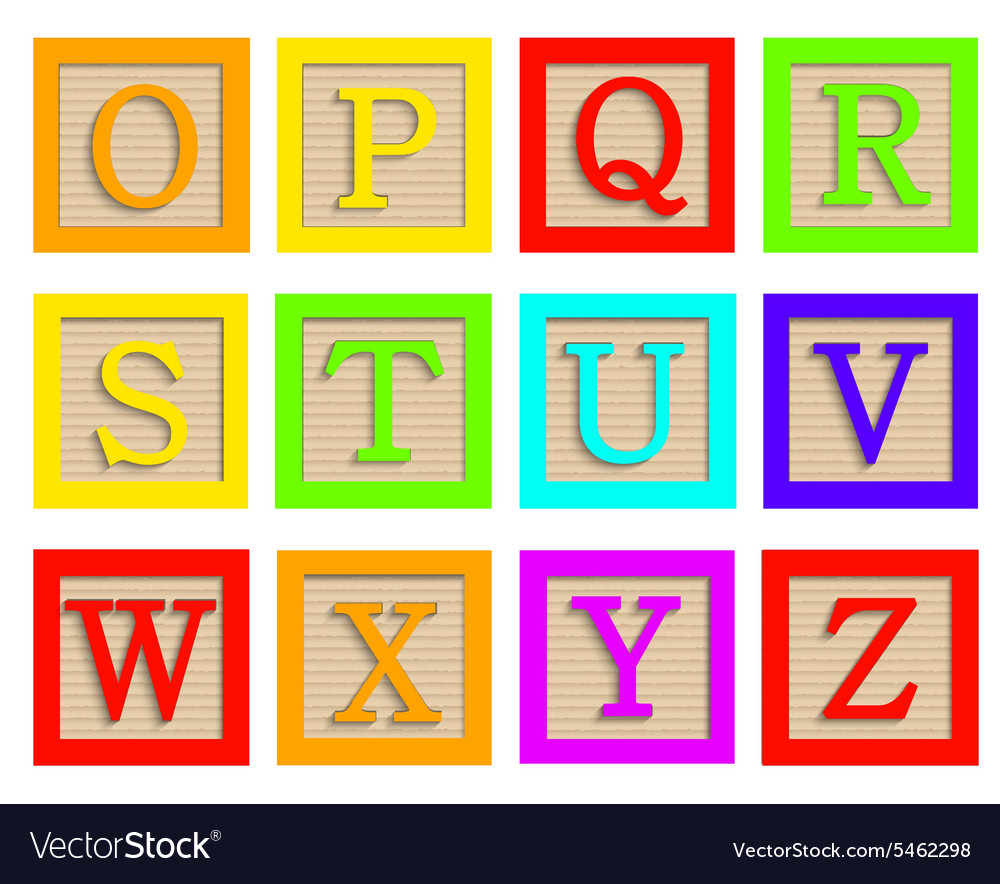 Modern wooden alphabet blocks set vector
