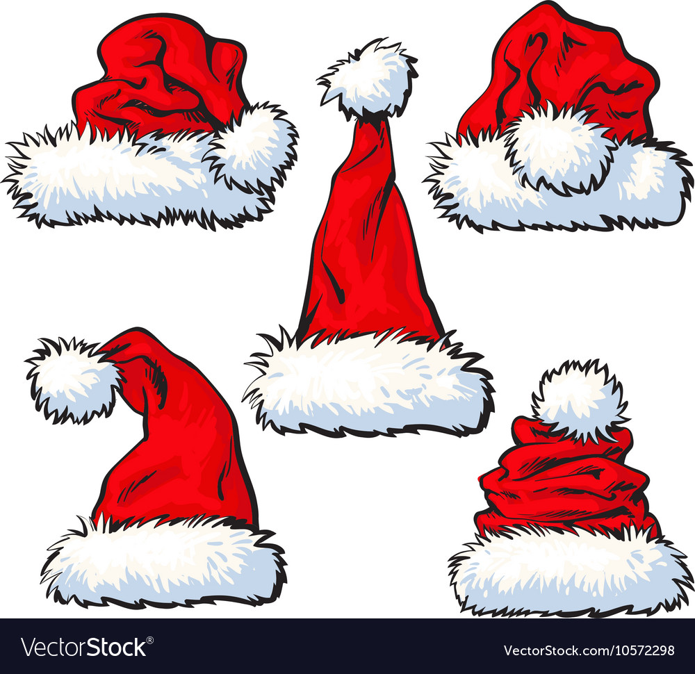 Set of red santa claus hat isolated on white vector