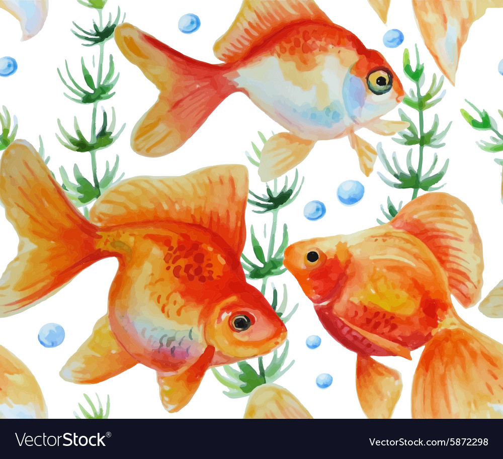 Watercolor pattern with goldfishes vector