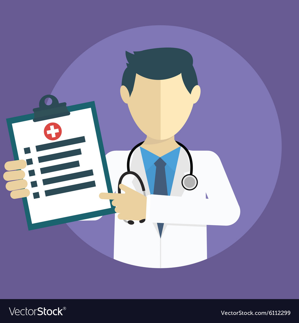 Doctor showing diagnoses flat design vector