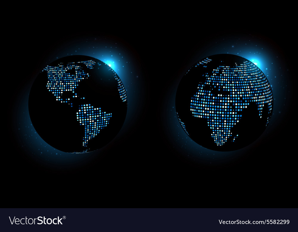 Dotted world globe vector