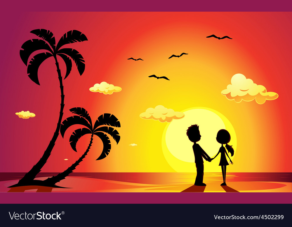 Lovers on a beach at sunset  vector
