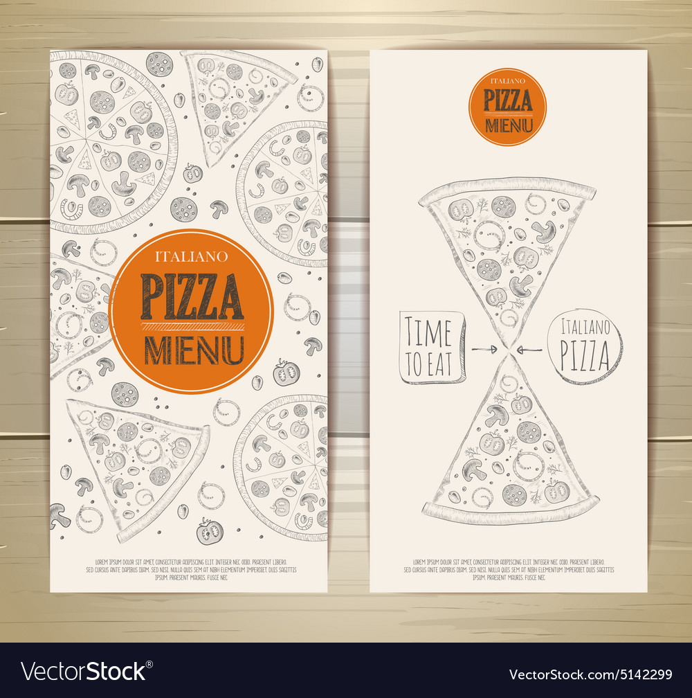 Set of banners with pizza sketch vector