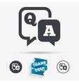 Question answer sign icon QA symbol vector image