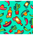 Stitching patches mexico icons seamless pattern vector image
