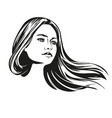 girl beautiful woman face hand drawn vector image vector image