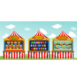 Three game boothes at the circus vector image