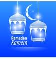 Blue flat simple Ramadan kareem vector image