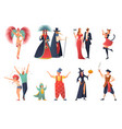 carnival party icons set vector image