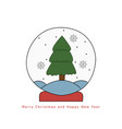 christmas snow globe with fir tree hand drawn on vector image