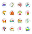 Amusement park icons cartoon style vector image