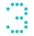 digital number 3 three display board round dot vector image