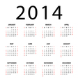 Calendar for 2014 on white background vector image