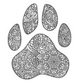 dog paw print zentagle vector image