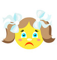 sad smiley girl icons on a white background vector image