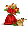 santa red bag with presents detailed vector image